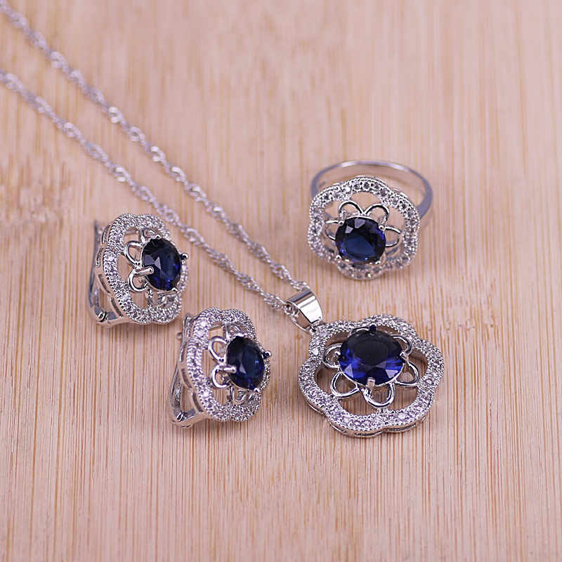 Bridal 925 Sterling Silver Jewelry Sets Blue Zirconia Stone Earrings For Women Wedding Jewelry With Ring Pendant Necklace Set