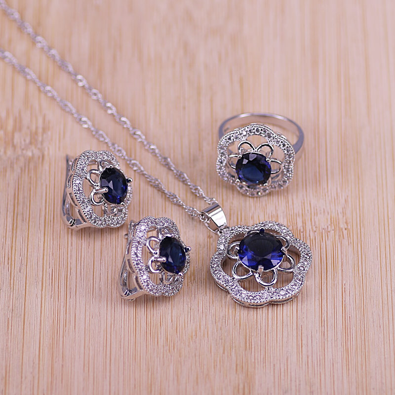 Bridal Silver Color Jewelry Sets Blue Zirconia Stone Earrings For Women Wedding Jewelry With Ring Pendant Necklace Set