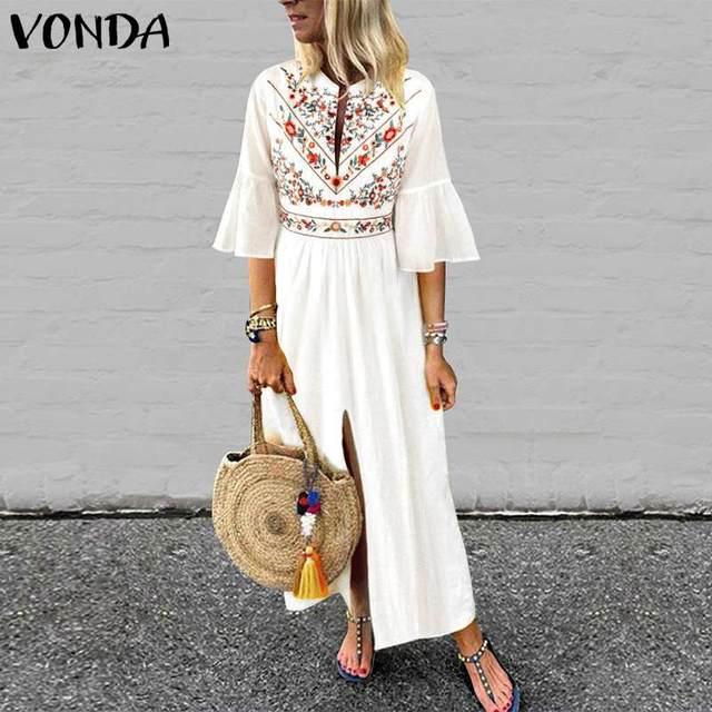 8b1e6a2a9cce3 VONDA Women Boho Printed Dress 2019 Sexy V Neck Ruffle Sleeve Split Maxi  Dress Casual Sundress Vacation White Vestidos Plus Size