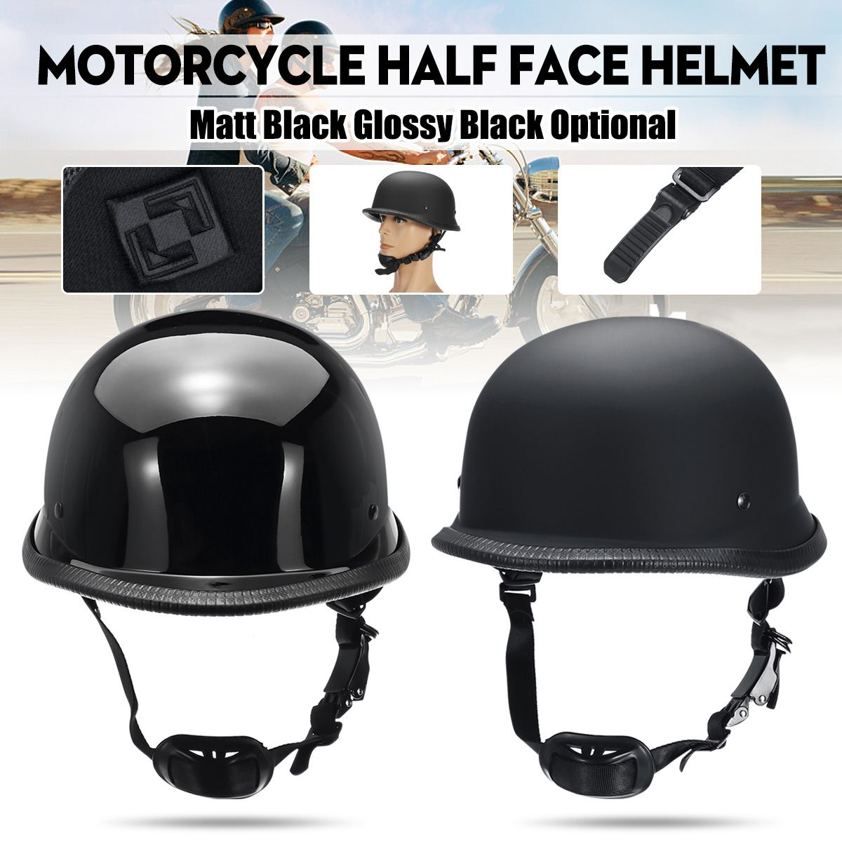 Universal Motorcycle Helmet Vintage Half Face Helmet Retro German Chopper Cruiser Black Helmets For Harley DOT