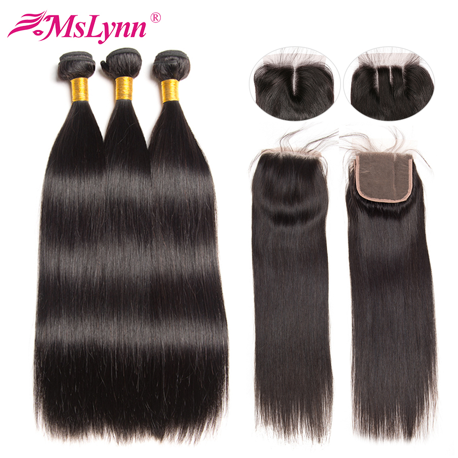 Straight Hair Bundles With Closure Brazilian Hair Weave Bundles With Closure Human Hair Bundles With Closure