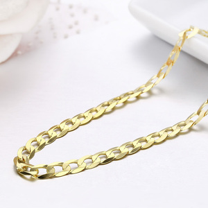 Image 4 - 45cm 80cm 4mm Slim 925 Sterling Silver W/ Gold Color Curb Chain Link Necklaces Women Men Jewelry Collares Kolye Collier Ketting