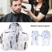 Sketch Haircut Apron Cape Hair Salon Scissors Sketch Pattern Hairdressing Perm Dye Barber Shop Apron Cutting Down Cloth salon home use adult hair cutting cape hairdressing dye salon apron barber gown cosmetic tools