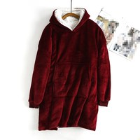 Women Thick Velvet Liner Warm Sleep Tops Casual Hooded Lounge Wear Autumn Winter One Size Long Underwear