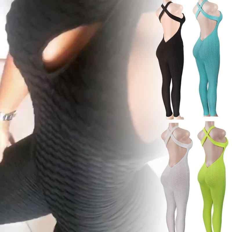 Women Back Hollow Out Skinny Jumpsuit Sport Butt Lift Leggings For Fitness Aliexpress