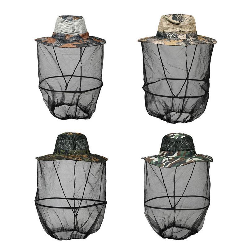 Beekeeping Hat Wide Brim Camouflage Mosquito Net Fishing Cap Bee Flying Insects Bucket Mesh Protector Beekeeping Equipment