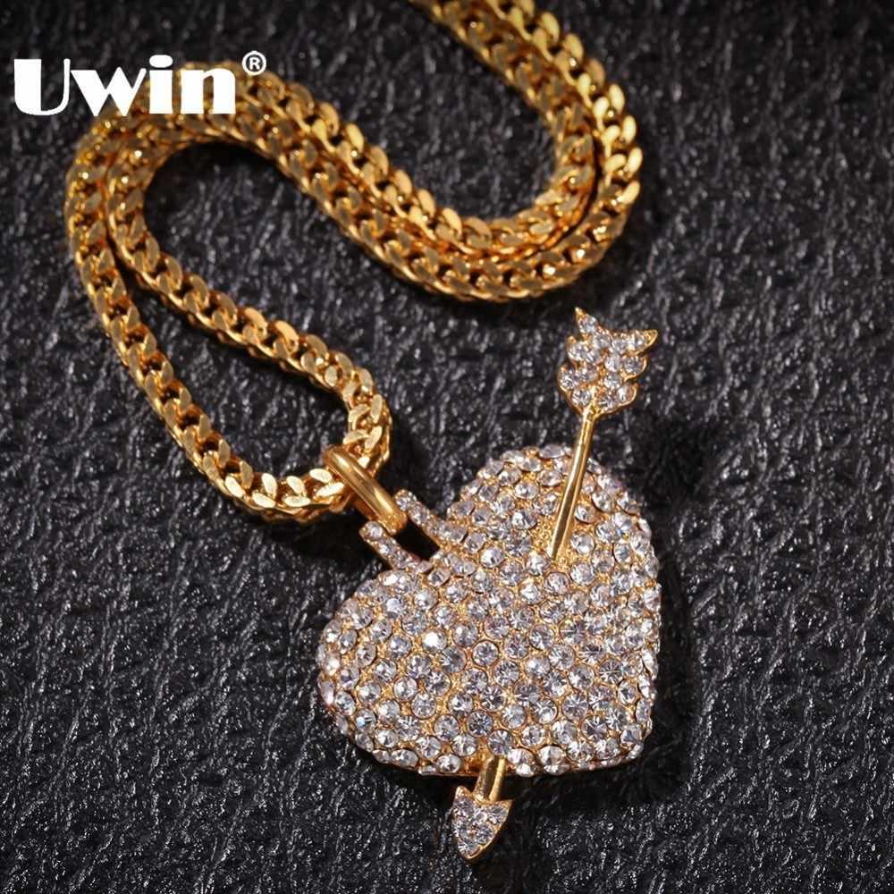 UWIN ожерелье с подвеской в виде сердца со стрелкой из нержавеющей стали, стразы в стиле хип-хоп, ювелирные цепочки для мужчин и женщин, подарки