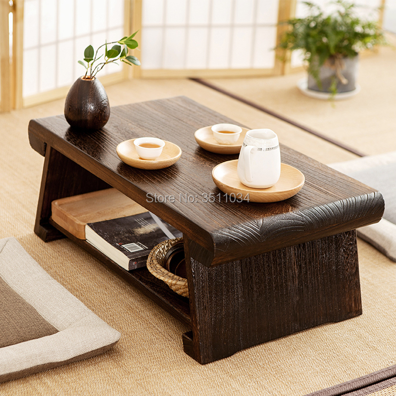 Japanese Style Antique Solid Wood Tea Table Tatami Small Coffee Table Solid Paulownia Wood Furniture Living Room Low Tea Table Reputation First Café Furniture