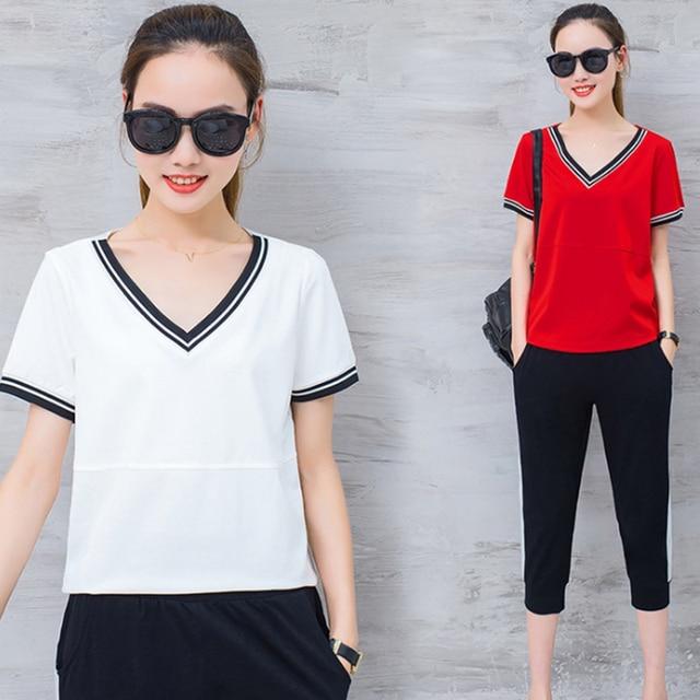 Keren Musim Panas Fashion Wanita Baju Olahraga Plus Ukuran M-4XL Bernapas  Putih T- 334b8322d3
