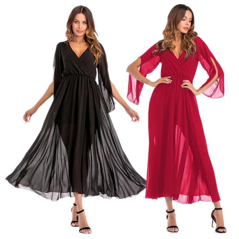 Летнее женское платье в западном стиле с v-образным вырезом, сексуальное шифоновое платье-туника с длинным рукавом и эластичной резинкой на ...