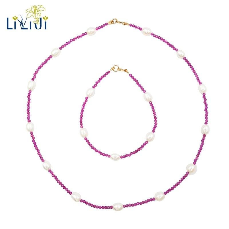 Lii Ji Lab-créé rubis perle d'eau douce 925 en argent Sterling collier Bracelet ensemble de bijoux cadeau de fête