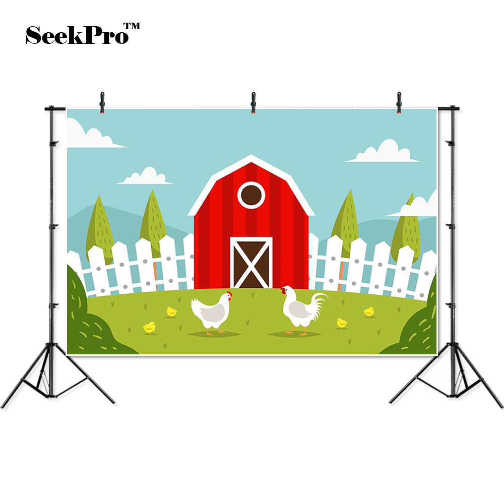 2019 Latest Design Thin Vinyl Farm Fence Cock Hen Chick Red House Baby Children Photo Backgrounds Professional Indoor Photographic Studio Backdrop