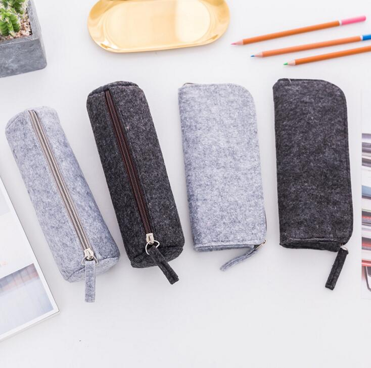 Felt Pencil Bag Fabric Pencil Case Pencil Box Stationery Pouch Purse Storage Schools & Offices Supplies