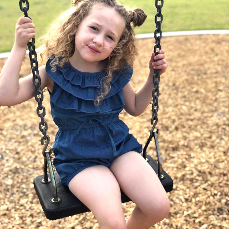 Pudcoco Baby Girl   Romper   One Piece Suit Clothes 2019 New Denim   Rompers   Slim Wasit Sunsuit 0-4T Baby Kids Girl Clothes Ruffles