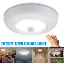 Batteries Powered 17 LED PIR Sensor Infrared Ceiling Light