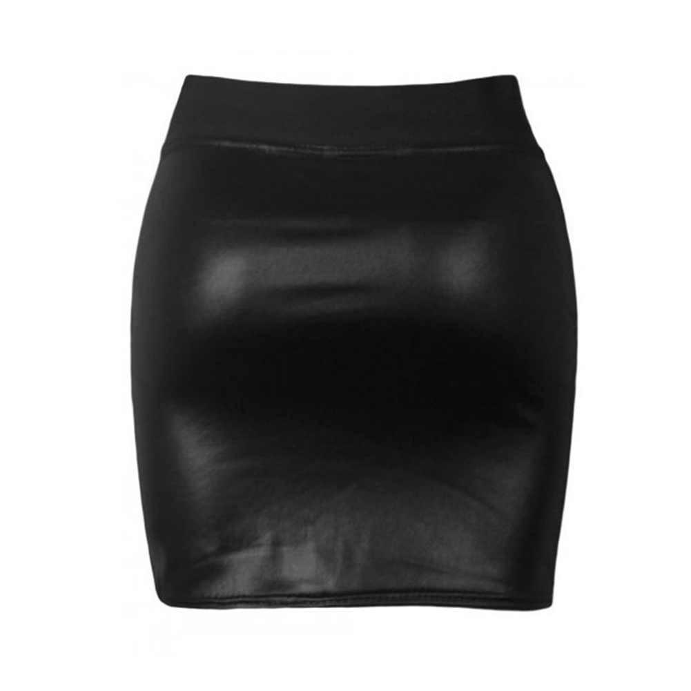 חצאית נשים סקסי רך עור מפוצל גבוהה מותן Slim עיפרון Bodycon מיני חצאית ליידי הדוק למתוח קוריאני Ol חצאיות נהיגה לראשונה חצאית femme