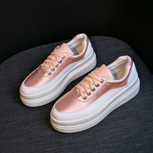 купить Platform Flats Shoes 2019 Spring Womens Shoes Glitter Leather Silver Pink Woman Casual Flats Shoes Comfortable Dames Sneakers по цене 1088.94 рублей