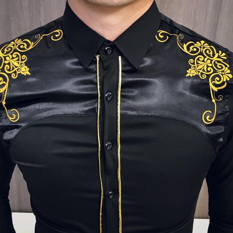 Luxury Korean Shirt Men Kemeja Pria Spring Embroidered Slim Fit Long Sleeve Shirt Men Social Club Prom Shirt Camisa Masculina