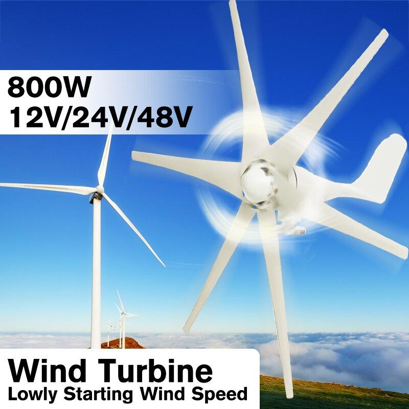 800 w 12 v 24 v 48 Volt 6 In Fibra di Nylon Lama Orizzontale Turbine Eoliche Casa Vento di Potenza del Generatore di Mulino A Vento energia Turbine di Carica