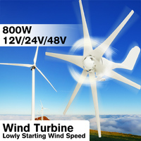 800W 12V 24 V 48 Volt 6 Nylon Fiber Blade Horizontal Home Wind Turbines Wind Generator Power Windmill Energy Turbines Charge