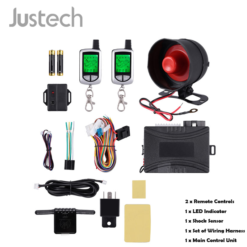 Justech 2-Way LCD Remote Start Car Alarm Keyless Entry Security System Central Door Lock Automation ACC Tailgate Trigger Alarm