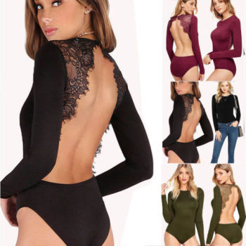 Women's Bodycon Bodysuit Long Sleeve Bandage Lace Jumpsuit Romper Leotard Top lace panel scrunch long sleeve top