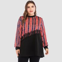 Spring New Casual Plus Size T Shirts Women Striped Fashion Print Red T Shirt Patchwork Lace Oversize 5XL Ladies Long Sleeve Top