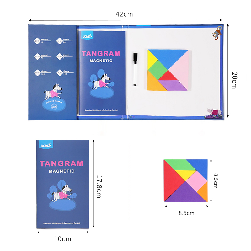 Magnetic EVA 3D Brain Teasers Jigsaw Puzzle Tangram Games Intelligent Puzzles Drawing Board Game Educational Toys For Kids Adult