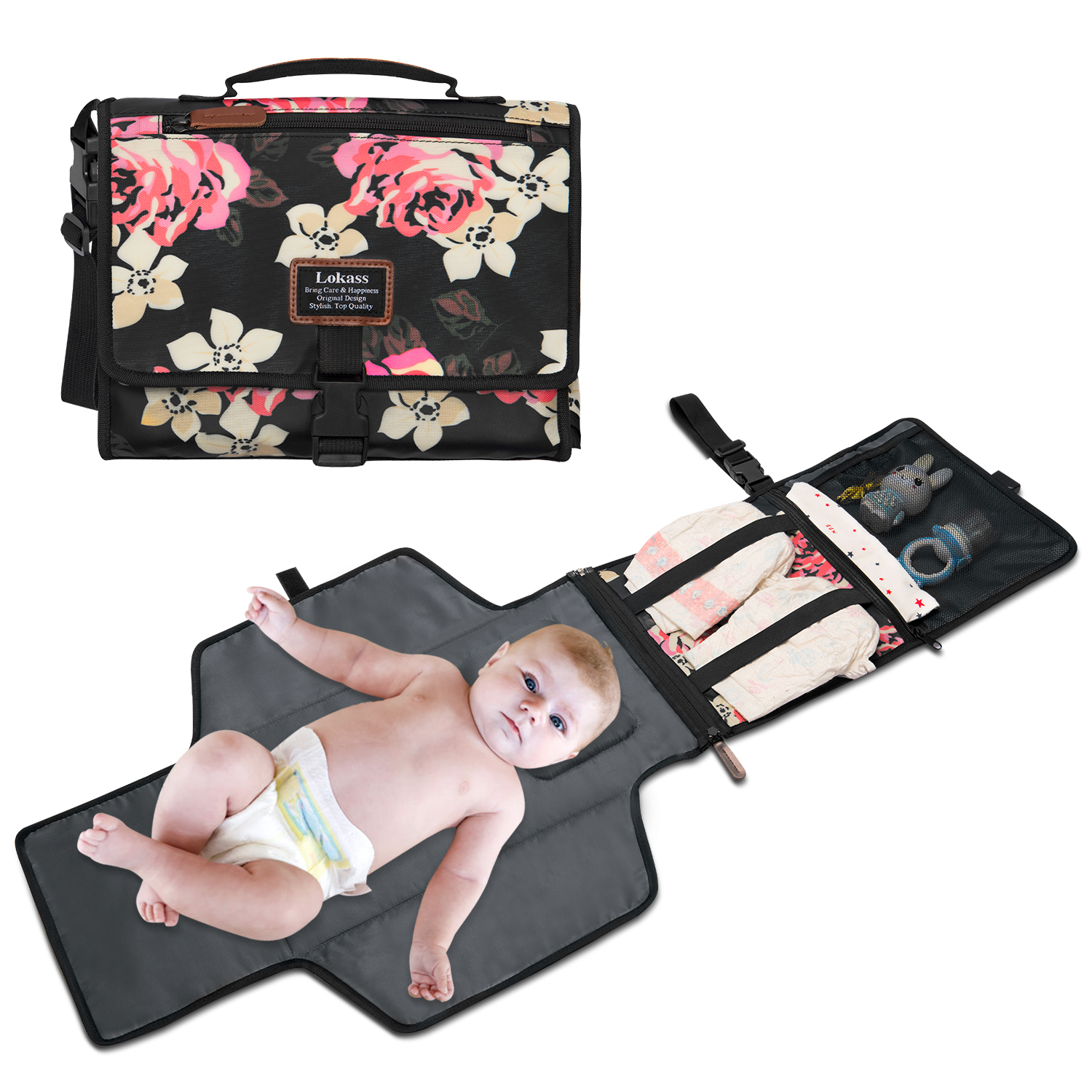 Portable Soft Diaper Changing Pad Clutch for Newborn Foldable Clean Hands Changing Station Baby Care Mat With Stroller StrapsPortable Soft Diaper Changing Pad Clutch for Newborn Foldable Clean Hands Changing Station Baby Care Mat With Stroller Straps