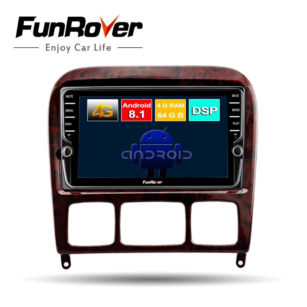 Funrover 2 din Android 8.1 multimídia carro dvd player gps Para Mercedes Benz Classe S S280 S320 S350 S400 S500 w220 W215 DSP 4G RAM
