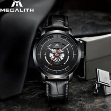 MEGALITH الأعمال عادية التلقائي ساعة ميكانيكية الرجال مقاوم للماء الرجال ساعة جلدية حزام ساعة للذكور Relogio Masculino