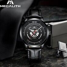 MEGALITH עסקים מקרית אוטומטי מכאני שעון גברים עמיד למים גברים שעון עור רצועת שעון עבור זכר Relogio Masculino