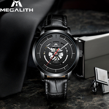 Reloj mecánico automático de negocios MEGALITH para hombre, reloj resistente al agua, reloj con correa de cuero para hombre, reloj Masculino