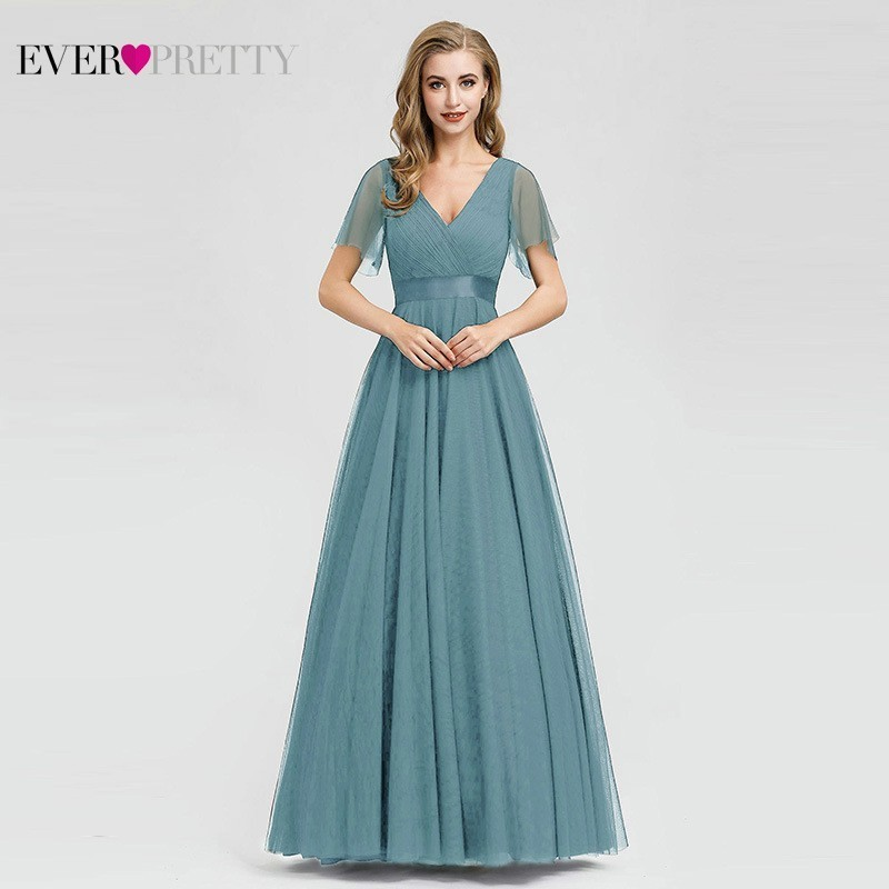 Blue   Prom     Dress   2019 Ever Pretty EP07962 A-Line V-Neck Tulle Women Sexy Long   Prom     Dresses   Elegant Formal Summer Party Gowns