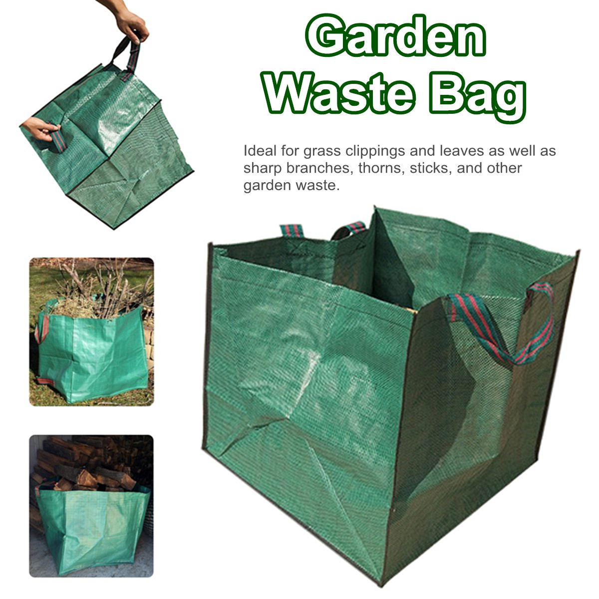 1PC Heavy Duty Garden Waste Bag Reusable Refuse Sack for Leaves Grass Bin FI