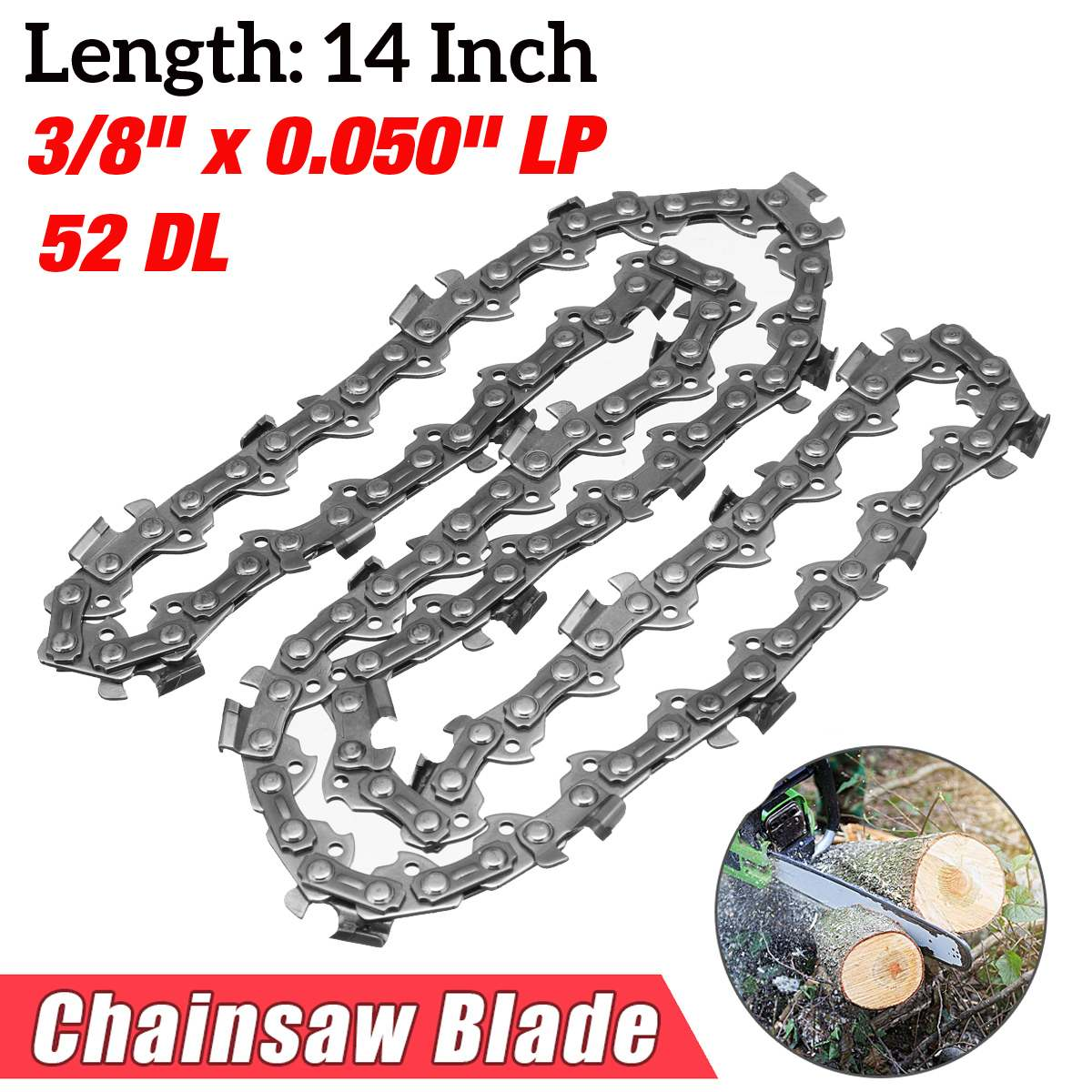 14 inch Garden Chain Saws Alloy Solid Carbide Chainsaw Chain 52 Link Bar 3/8 x 0.050 LP Power Tool parts 18 inch chainsaw chain 68 link bar 1 6mm x 0 325 lp garden chains saws alloy power tool parts