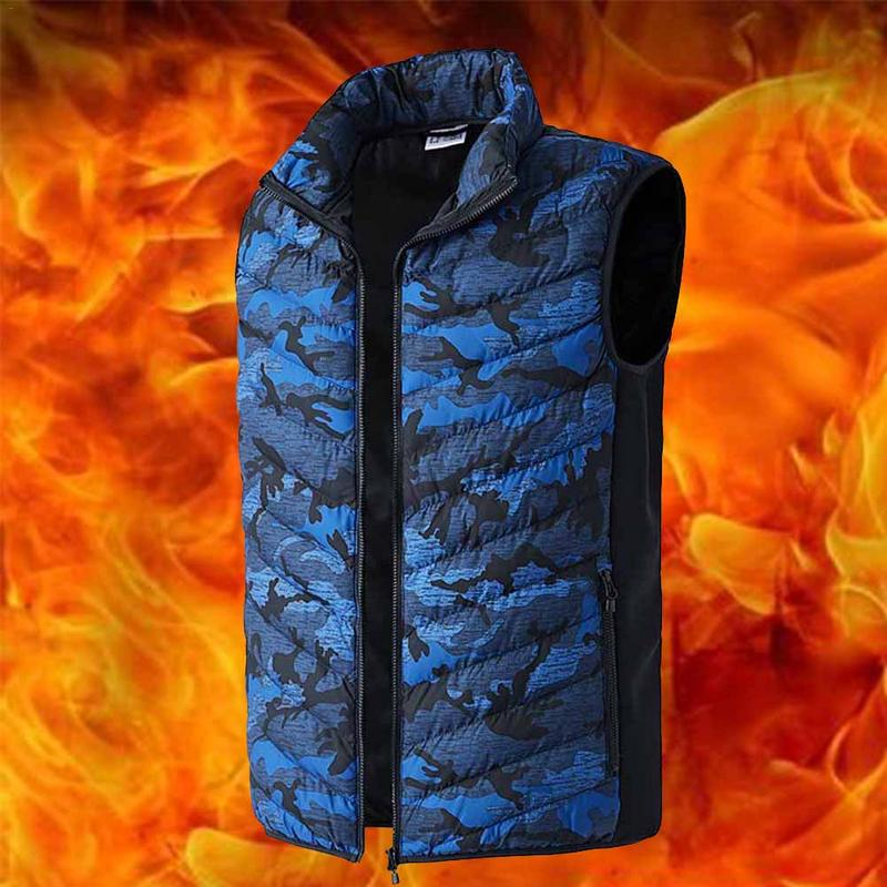 Outdoor Autumn Winter New Smart Electric Heating USB Vest for Men Winter Camouflage Printed Fishing Clothes Fast Heating L-6XL