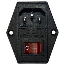 Inlaat Mannelijke Stopcontact Met Zekering Rocker Switch, zekering 3 Pin Iec320 250V 15A C14 Inlet Module Voor Computer En Huishoudapparatuur P