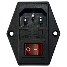 Inlet Male Power Socket With Fuse Rocker Switch, Fuse 3 Pin Iec320 250V 15A C14 Inlet Module For Computer And Home Appliance P