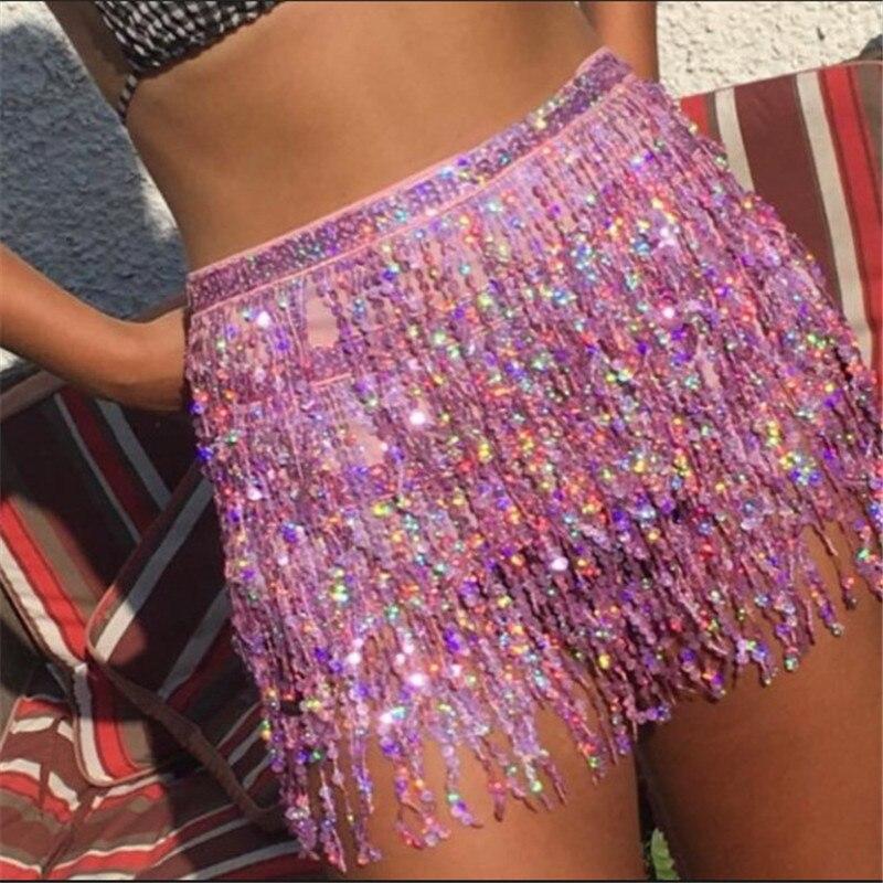 2019 Performance Costume Women Skirt Sexy Block Color Beading Women Skirt Night Party Fashion Tassels Femme Skirt