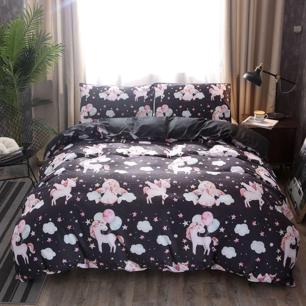 Licorne cheval imprimé noir blanc couleurs housse de couette + taies d'oreiller princesse tapis ensemble de literie roi reine Twin cadeau de noël