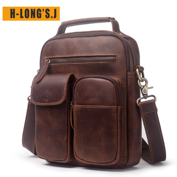 H-Long'S.J 100% Leather Men's Leather Bag Crazy Horse Leather Young And Middle-aged Bag Retro Fashion Shoulder Diagonal  Package