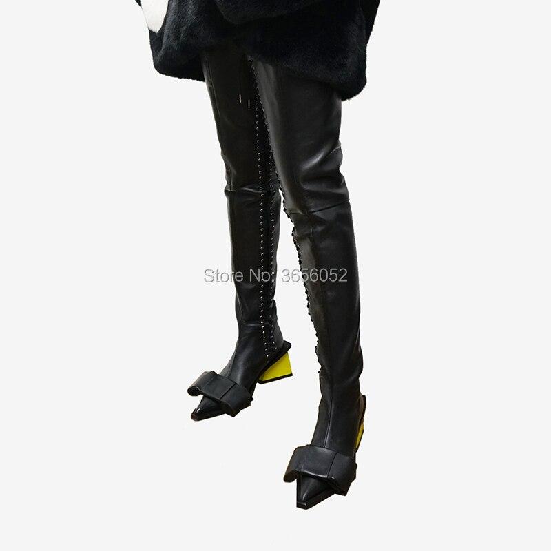 Bloque La As De as Señoras Pic Sexy Por Pajarita Tacón Cruz Botas Zapatos Altas Encima Rodilla Punta Atado 2019 Pic Pista Encaje Qianruiti Muslo pvWBqan