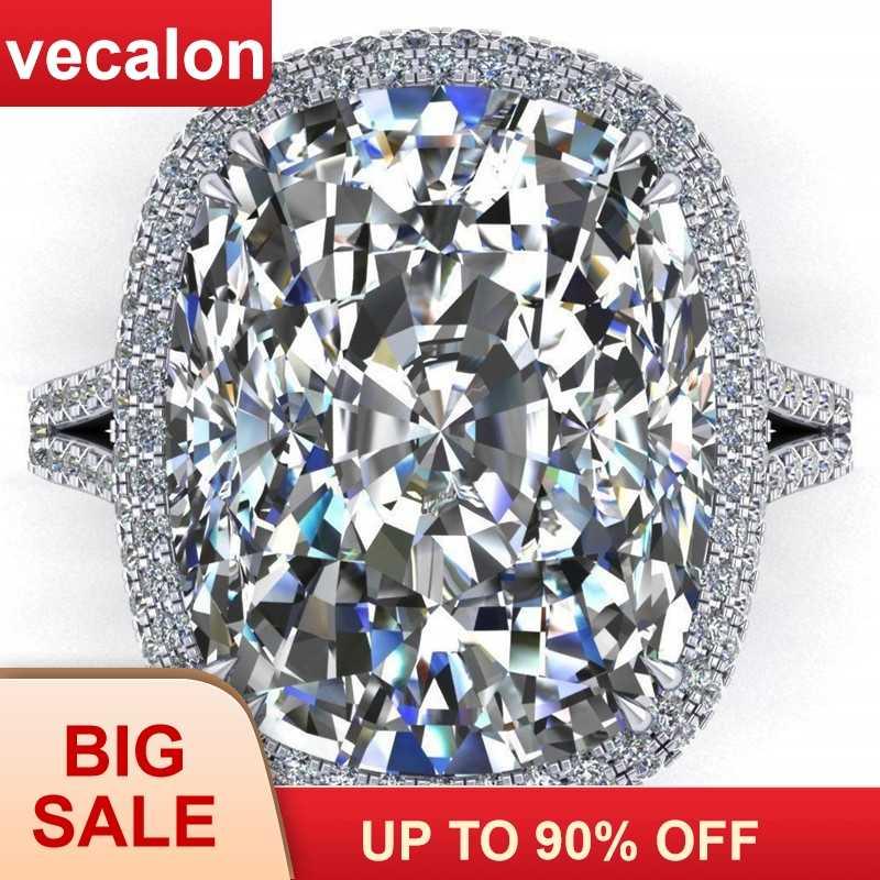 Vecalon 2019 большое кольцо 925 пробы Серебряная Подушка огранка 8ct Циркон Cz обручальное кольцо кольца для мужчин и женщин ювелирные изделия