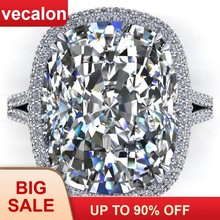 Vecalon 2019 Big Promise Ring 925 sterling silver Cushion cut 8ct Zircon Cz Engagement Wedding band rings for women Men Jewelry(China)