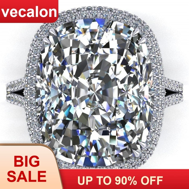 Us 14 31 91 Off Vecalon 2019 Big Promise Ring 925 Sterling Silver Cushion Cut 8ct Zircon Cz Engagement Wedding Band Rings For Women Men Jewelry In
