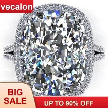 f5257d2a31d0 Vecalon 2019 gran promesa anillo de Plata de Ley 925 corte 8ct Zircon Cz compromiso  boda