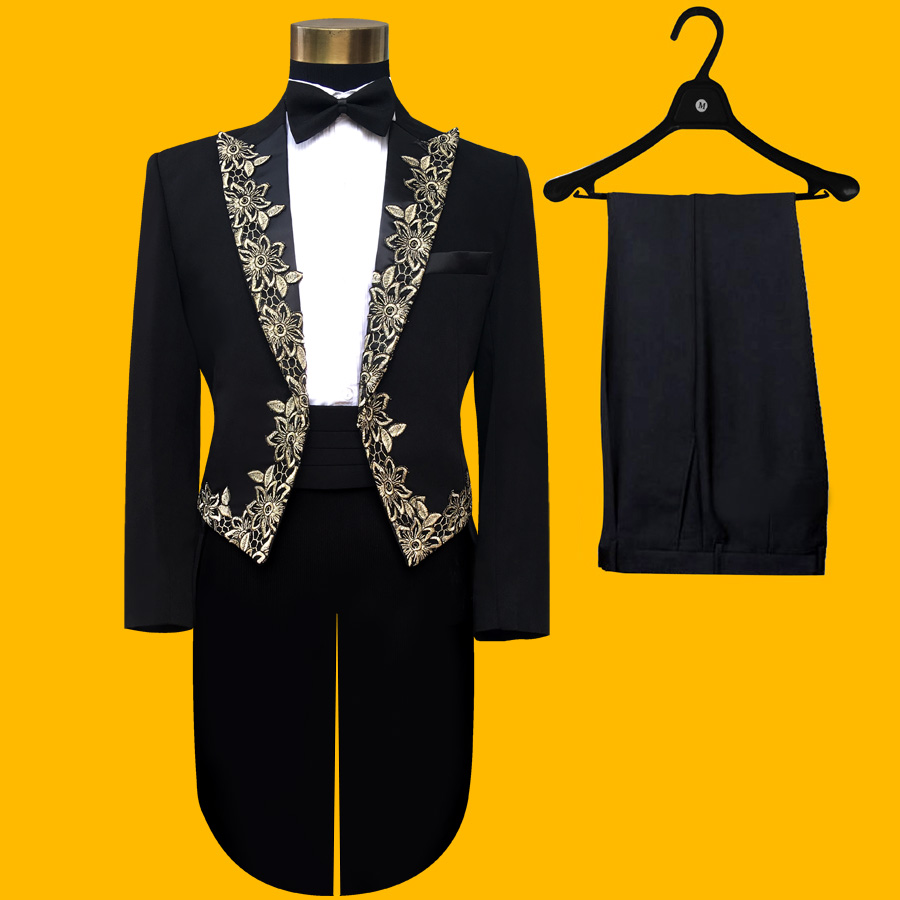 Black Patchwork Golden Embroidered Clothes Set Boys3PCS Childrens Clothing Formal Party Trailblazers Bow Tie Jacket Costume SetBlack Patchwork Golden Embroidered Clothes Set Boys3PCS Childrens Clothing Formal Party Trailblazers Bow Tie Jacket Costume Set