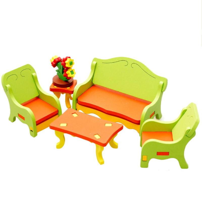 Wooden Kids Pretend Play Furniture Toys DIY 3D Puzzle Home Table Chair Model Set Kids Board Educational Toys Gifts for Children