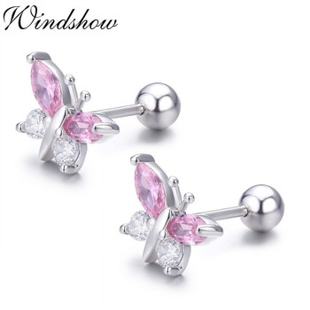 Cute 925 Sterling Silver Butterfly Pink CZ Screw Back Stud Earrings For Women Child Girls Kids.jpg 350x350 - Cute 925 Sterling Silver Butterfly Pink CZ Screw Back Stud Earrings For Women Child Girls Kids Jewellery Orecchini Aros Aretes
